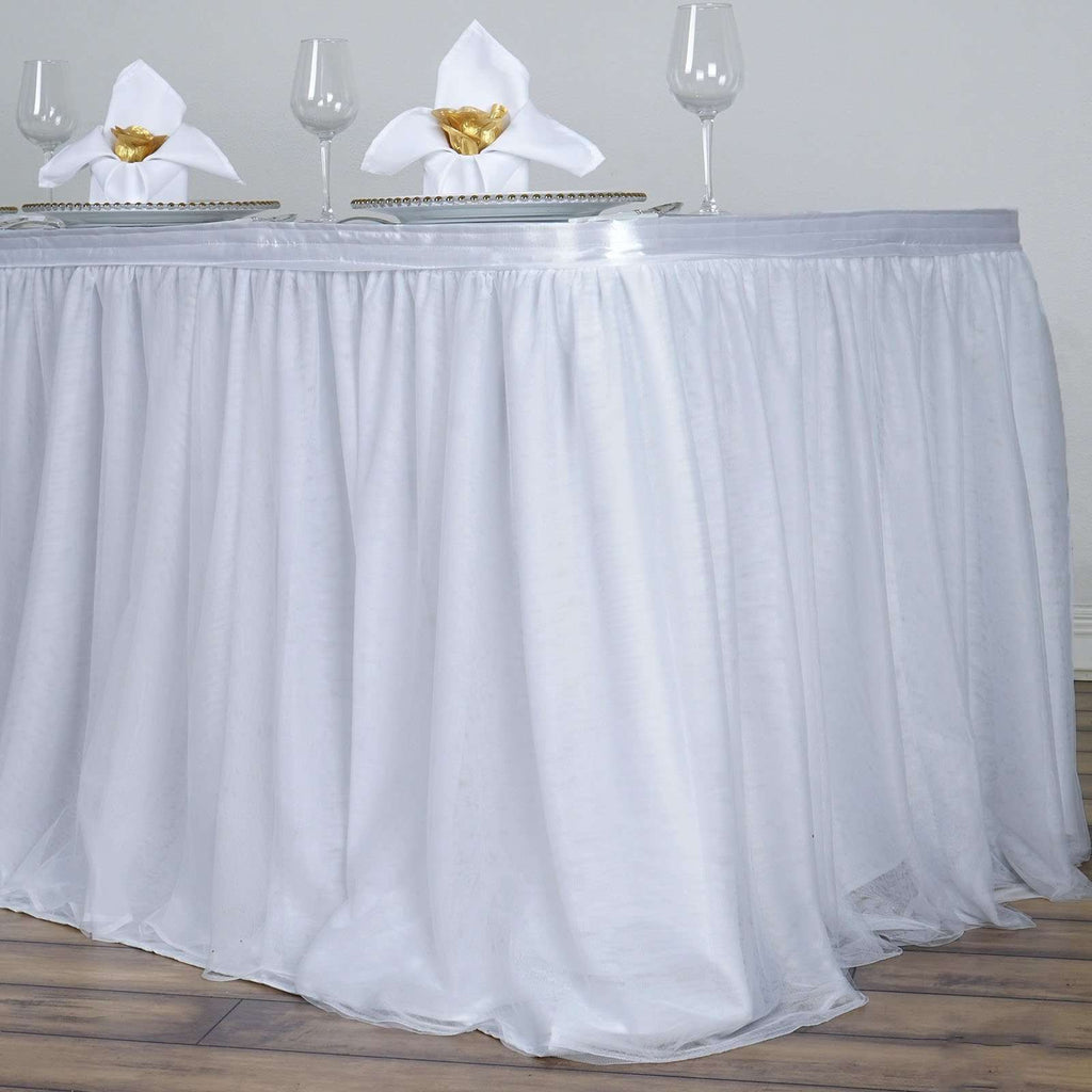 21FT White 3 Layer Tulle Tutu Pleated Table Skirt With Satin Attachment For Wedding Party Event