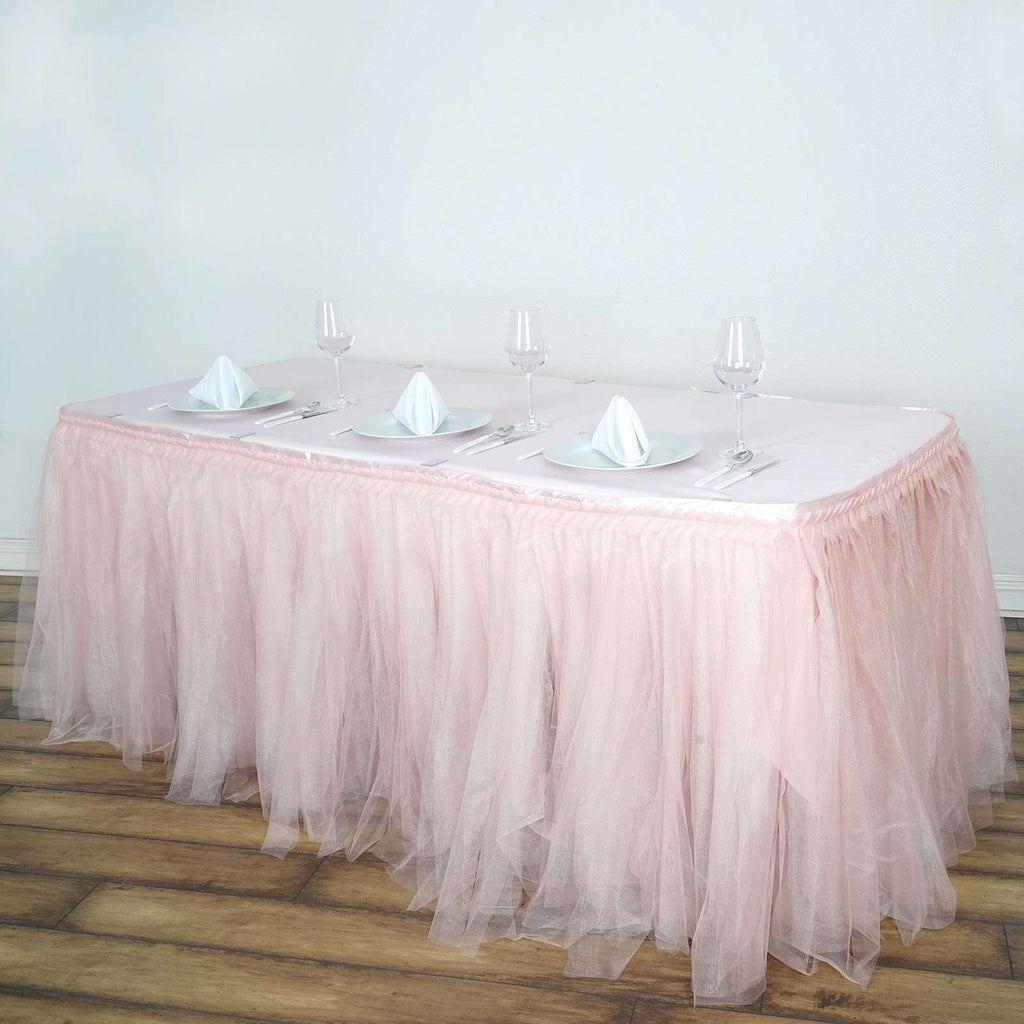 21FT Blush Two Layered Pleated Tulle Tutu Wedding Party Banquet Table Skirt With Satin Edge