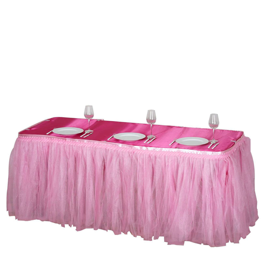 17FT Pink Two Layered Pleated Tulle Tutu Wedding Party Banquet Table Skirt With Satin Edge