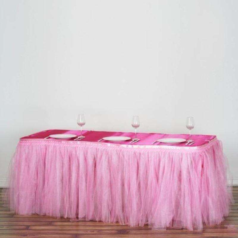 21FT Pink Two Layered Pleated Tulle Tutu Wedding Party Banquet Table Skirt With Satin Edge