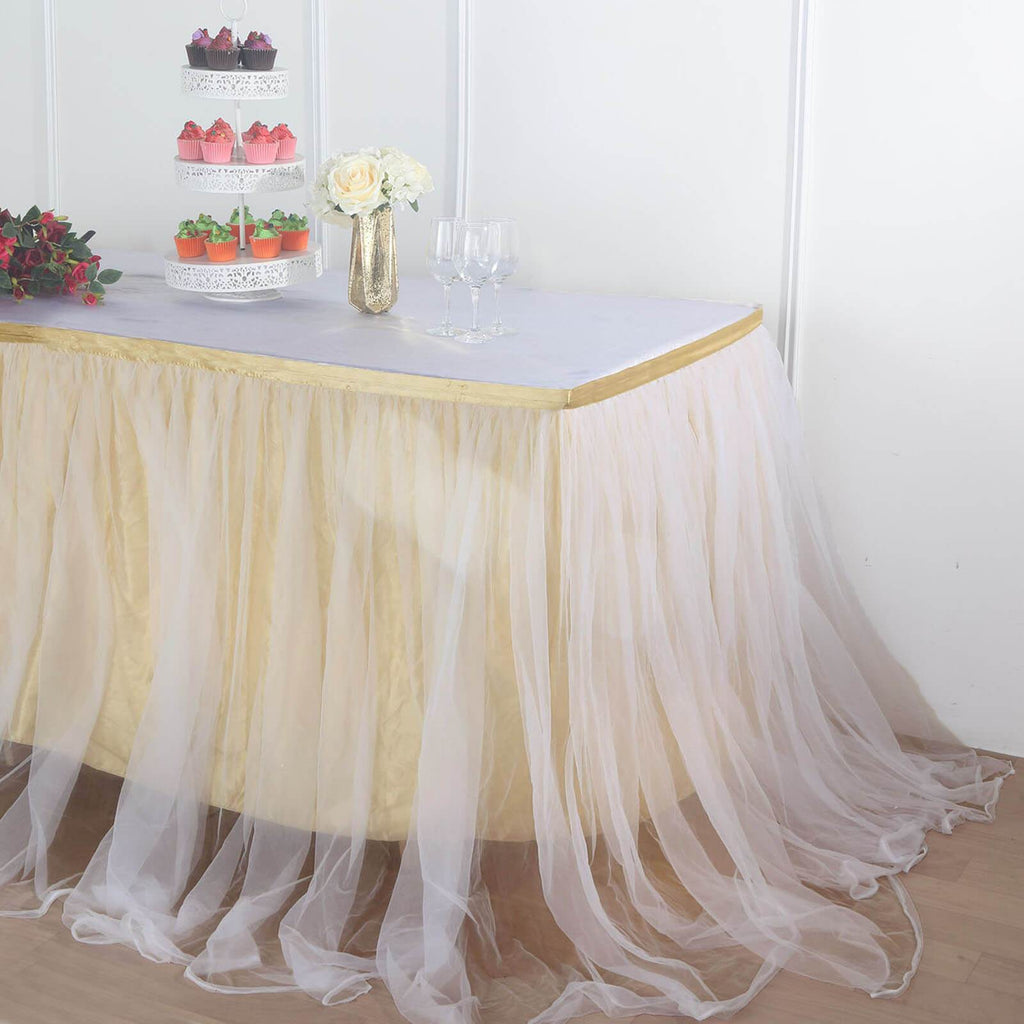 17FT Extra Long 48 inch Two Layered Tulle & Satin Table Skirt