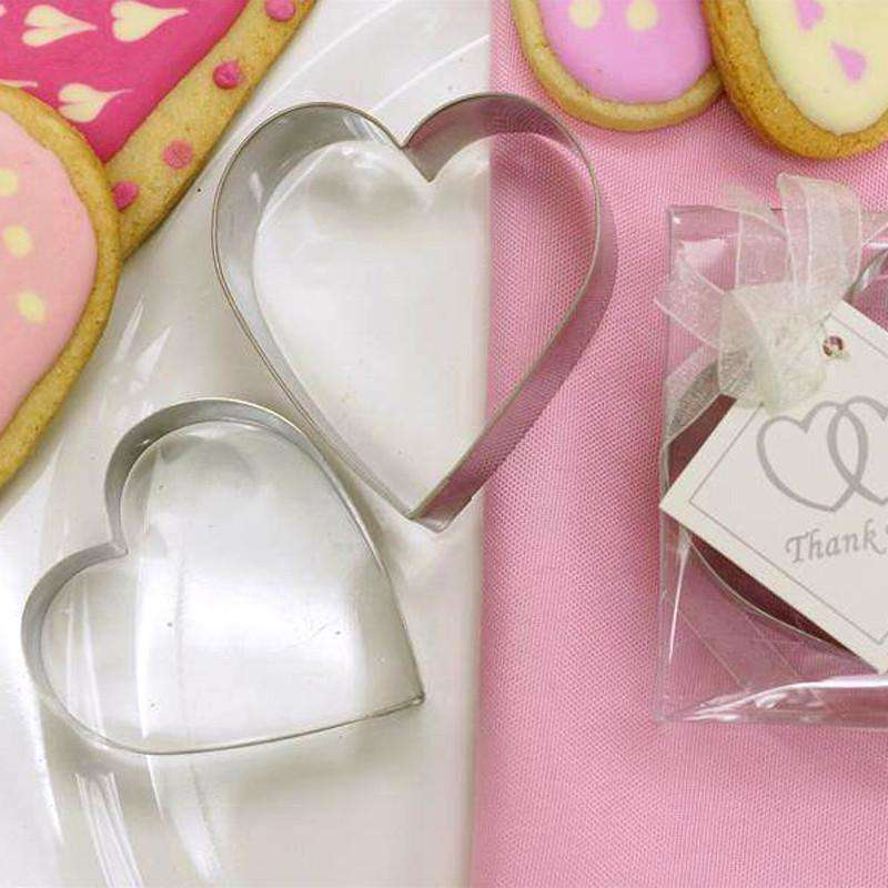 2 Pcs Heart Shaped Stainless Steel Cookie Cutter Wedding Favor Set with Clear Gift Box