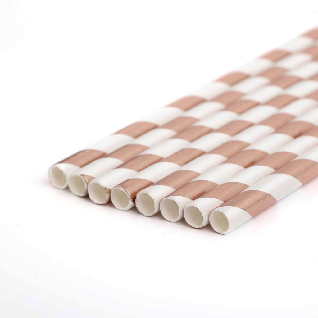25 Pack White/Rose Gold Striped Disposable Paper Straws