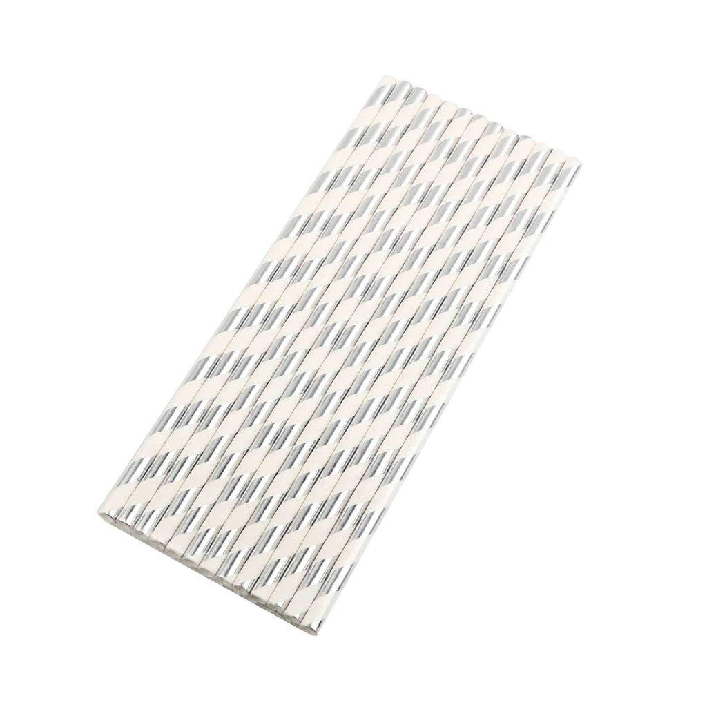 25 Pack White/Silver Striped Disposable Paper Straws