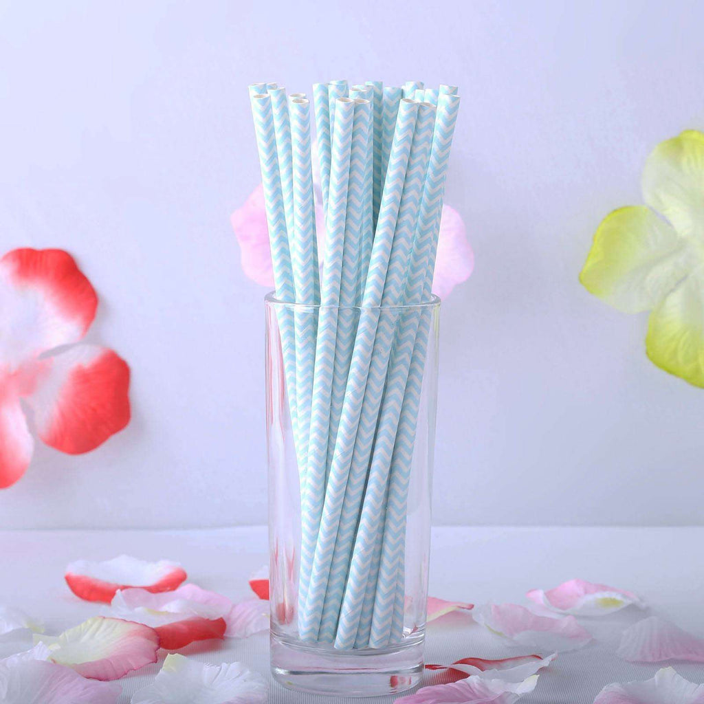 Chevron Paper Straws 25/pk - White / Lt. Blue