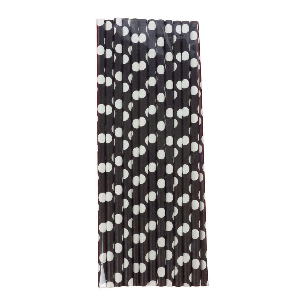 25 Pack White/Black Polka Dots Disposable Paper Straws