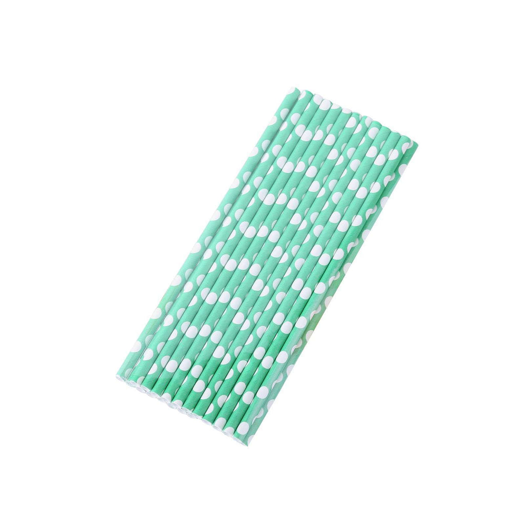 25 Pack White/Green Polka Dots Disposable Paper Straws