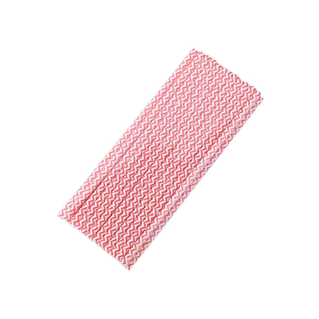 25 Pack White/Red Wavy Striped Disposable Paper Straws