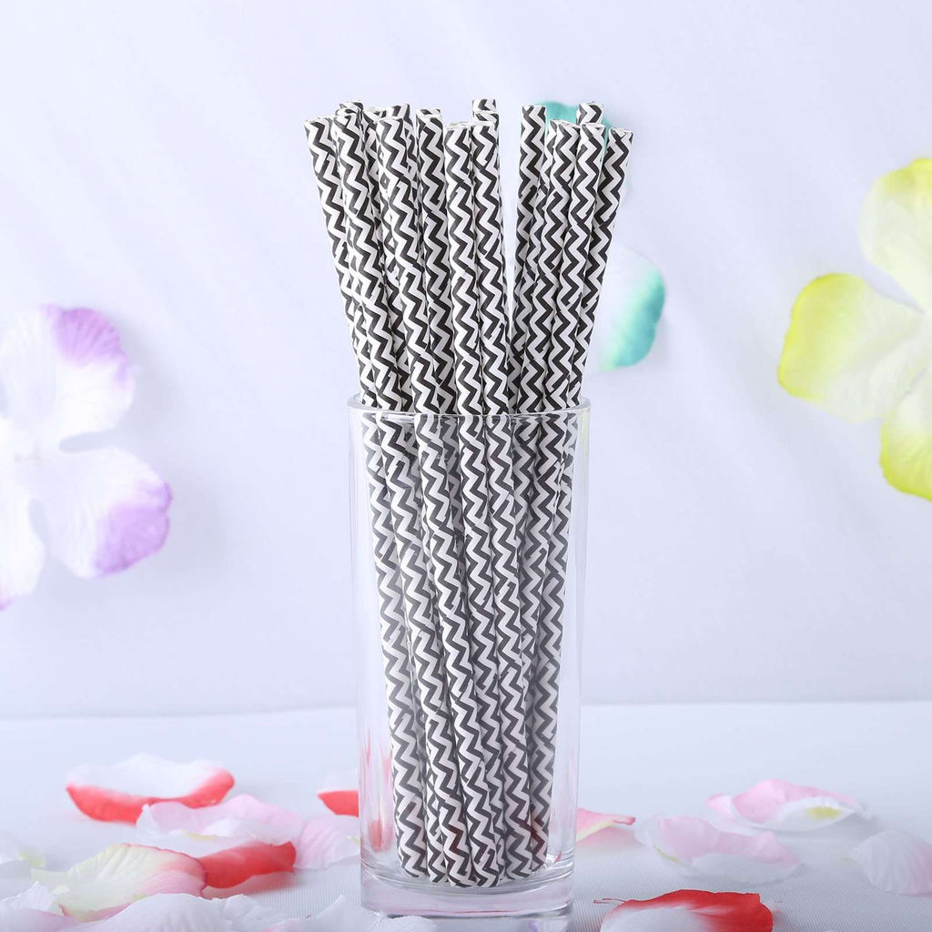 25 Pack White/Black Wavy Striped Disposable Paper Straws