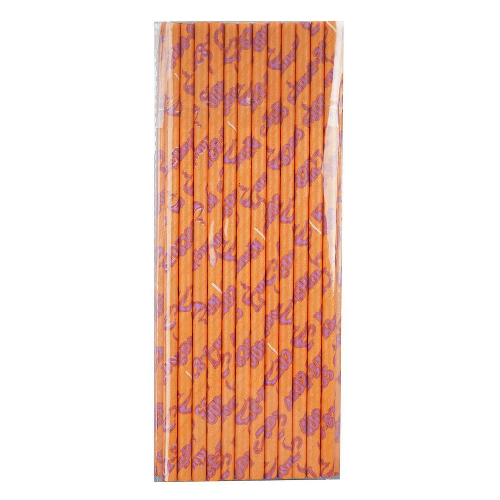 25 Pack Birthday Party Quinceanera Disposable Paper Straws - Orange/Pink