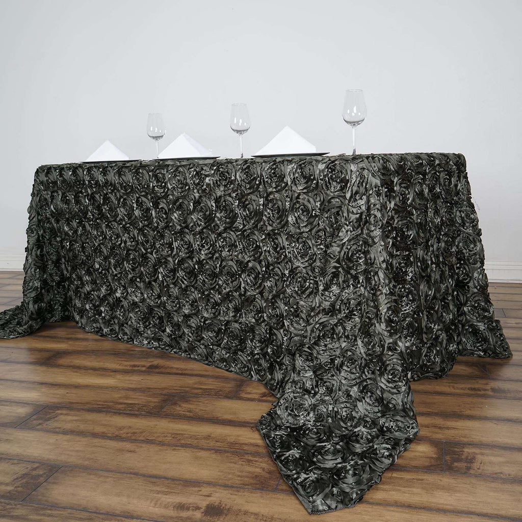 "90"" x 132"" Charcoal Grey Grandiose Rosette 3D Satin Rectangle Tablecloth"