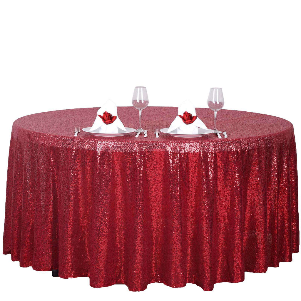 "120"" Wholesale Premium Burgundy Sequin Round Tablecloth For Wedding Banquet Party"