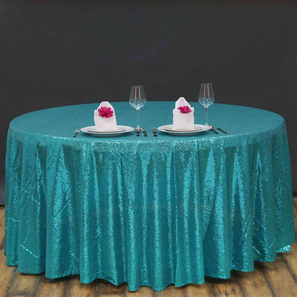 "120"" Premium Sequin Round Tablecloth - Turquoise 