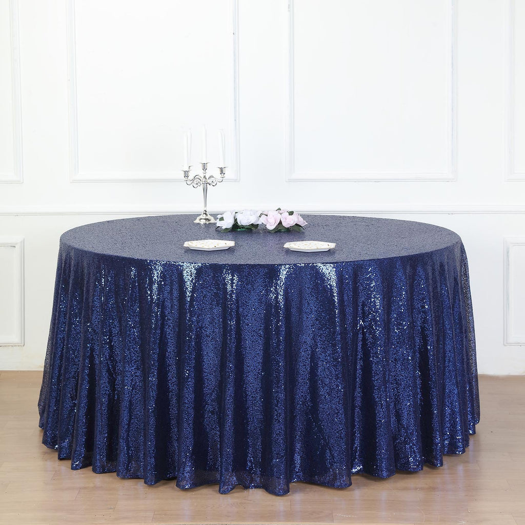 "132"" Navy Premium Sequin Round Tablecloth"