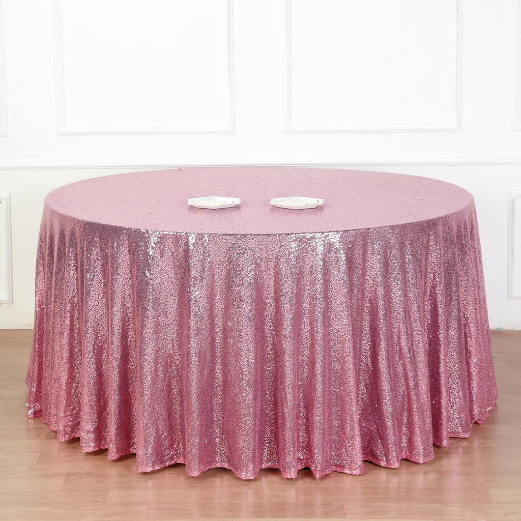"132"" Pink Premium Sequin Round Tablecloth"