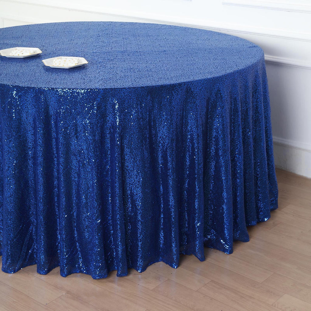"132"" Royal Blue Premium Sequin Round Tablecloth"