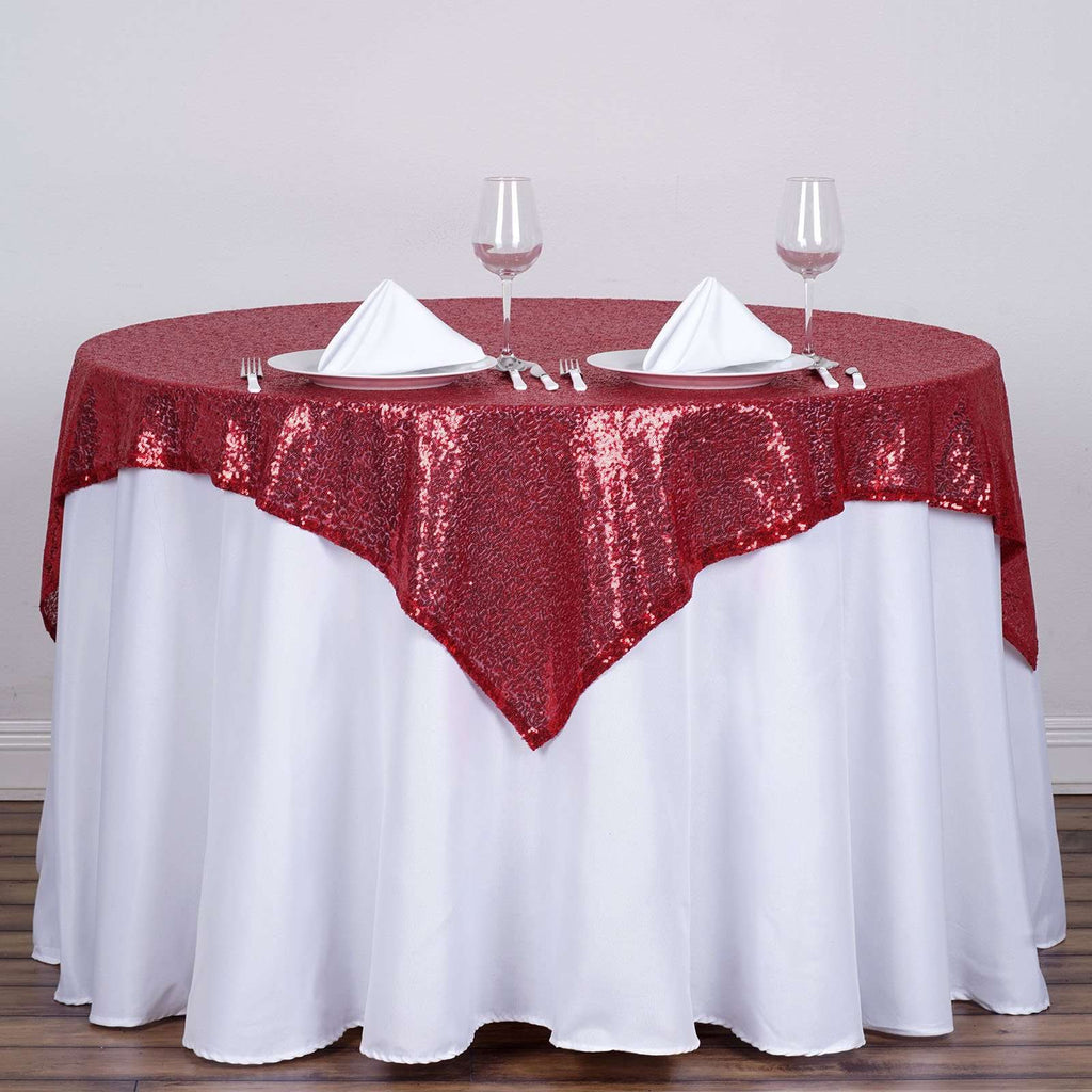 "54"" x 54"" Burgundy Wholesale Premium Sequin Square Tablecloth Overlay For Banquet Wedding Party Restaurant"