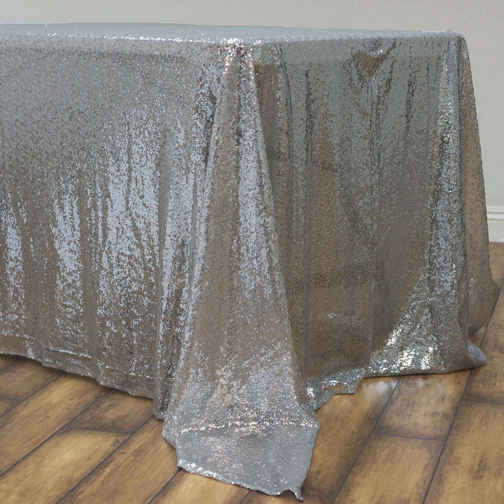 "60x126"" Wholesale Premium SEQUIN Tablecloth For Banquet Wedding Party - Silver"