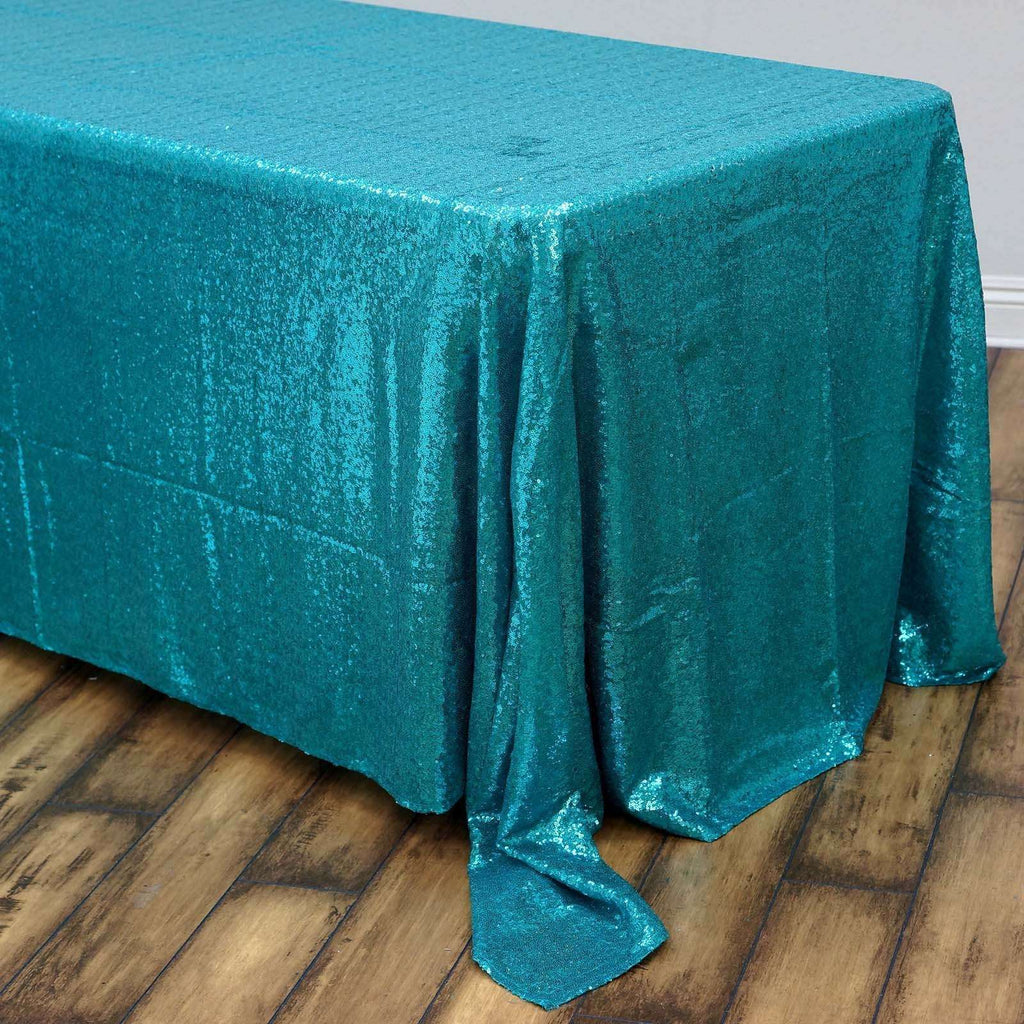 "90x132"" Wholesale Turquoise Sequin Rectangle Tablecloth For Banquet Wedding Party"