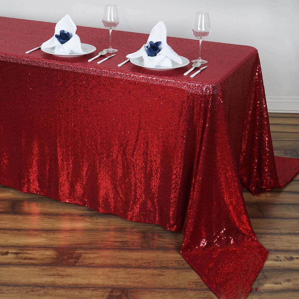 "90x156"" Wholesale Premium Burgundy Sequin Rectangle Tablecloth For Banquet Wedding Party"