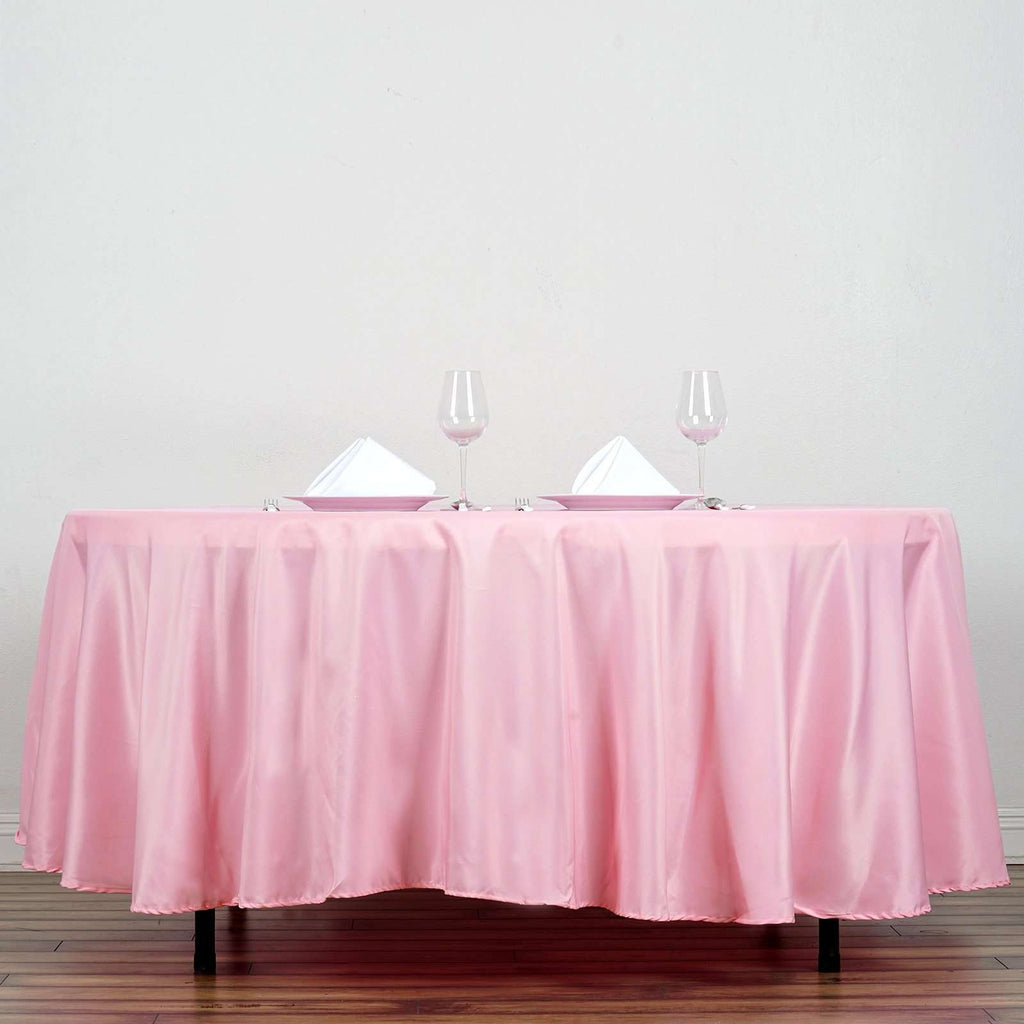 "108"" Pink Polyester Round Tablecloth"