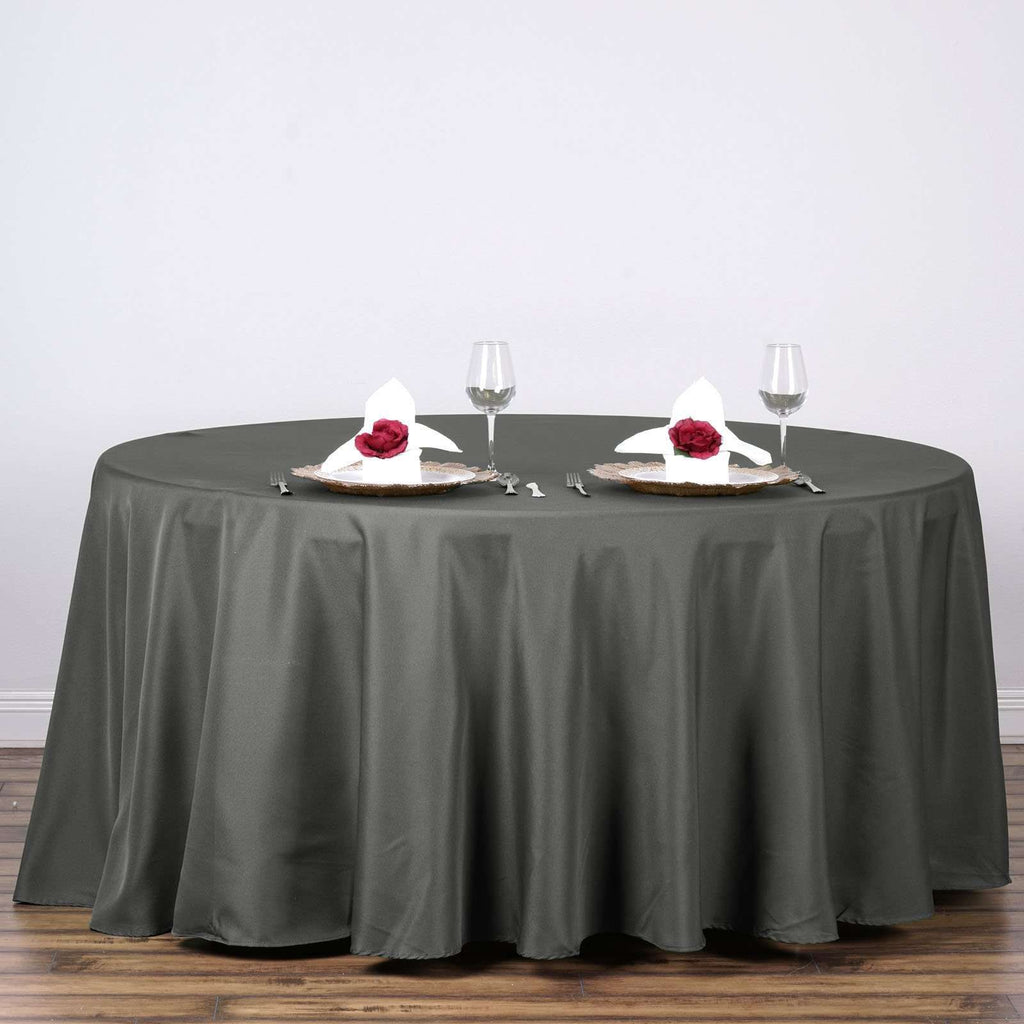 "120"" CHARCOAL GRAY Wholesale Polyester Round Tablecloth For Wedding Banquet Restaurant"