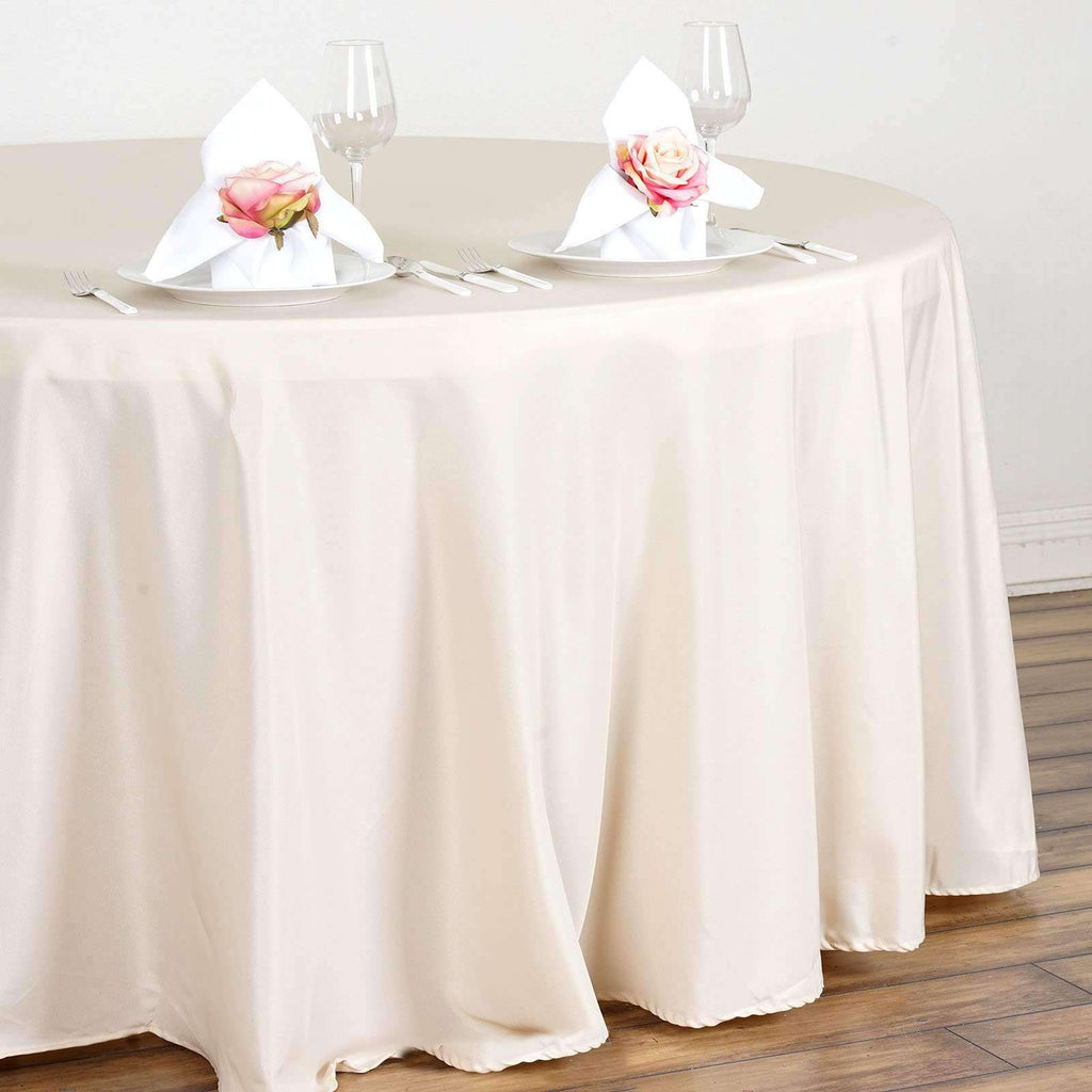 "120"" Beige Wholesale Polyester Round Tablecloth For Wedding Banquet Restaurant"