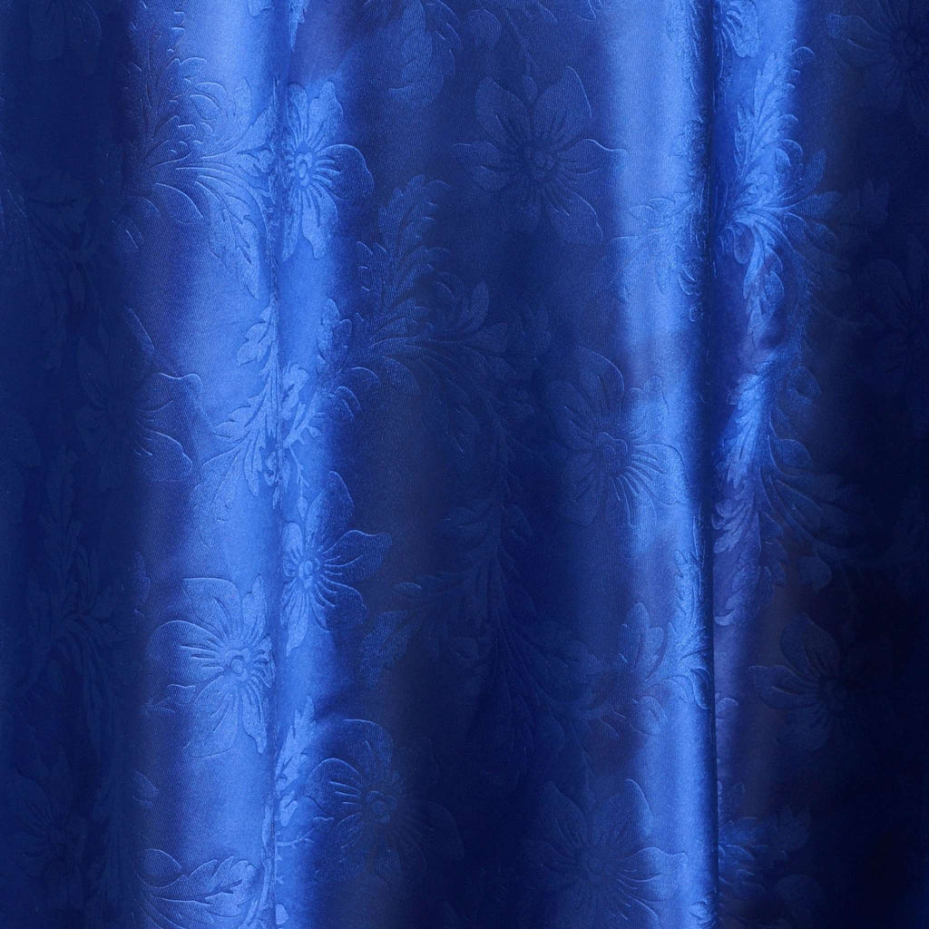 "Lily Embossed Satin Tablecloth 120"" Round - Royal Blue"