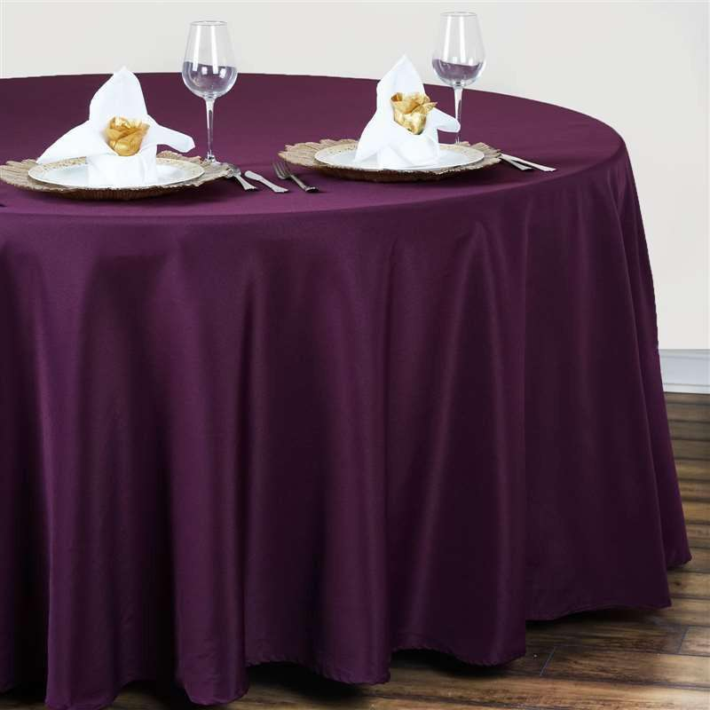 "120"" EGGPLANT Wholesale Polyester Round Tablecloth For Wedding Banquet Restaurant"