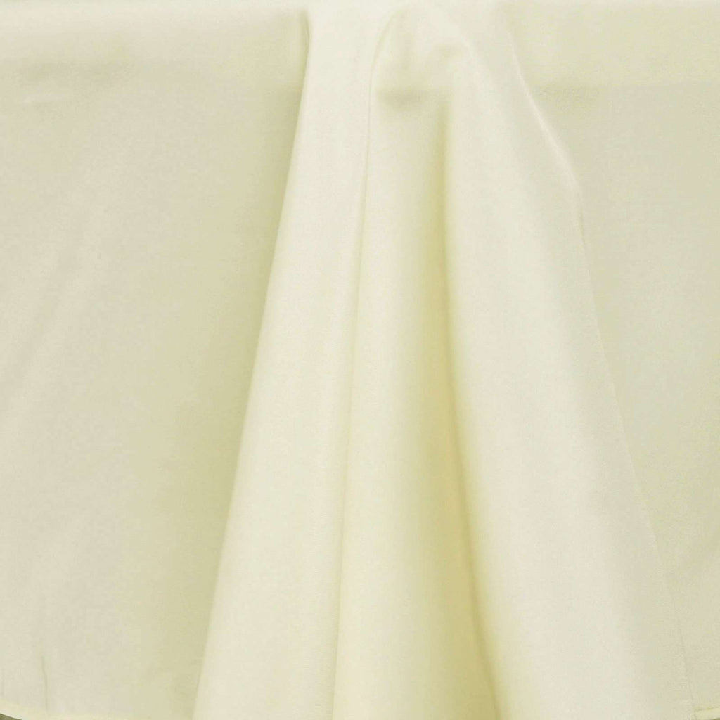 "120"" IVORY Wholesale Polyester Round Tablecloth For Wedding Banquet Restaurant"