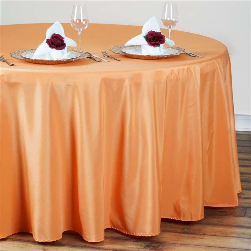 "120"" ORANGE Wholesale Polyester Round Tablecloth For Wedding Banquet Restaurant"