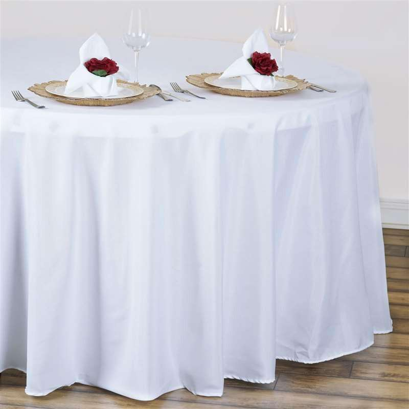 "120"" WHITE Wholesale Polyester Round Tablecloth For Wedding Banquet Restaurant"