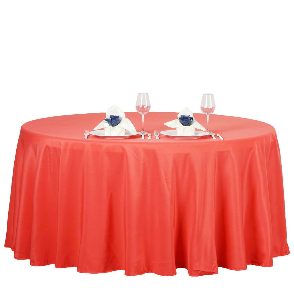 "132"" CORAL Wholesale Polyester Round Tablecloth For Wedding Banquet Restaurant"