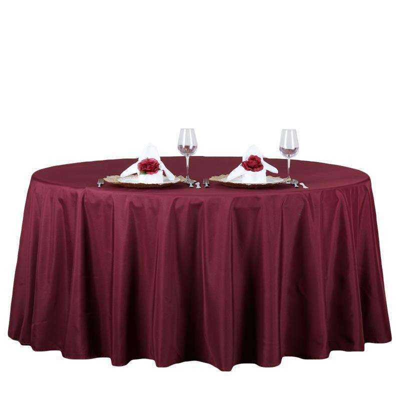 "132"" BURGUNDY Wholesale Polyester Round Tablecloth For Wedding Banquet Restaurant"