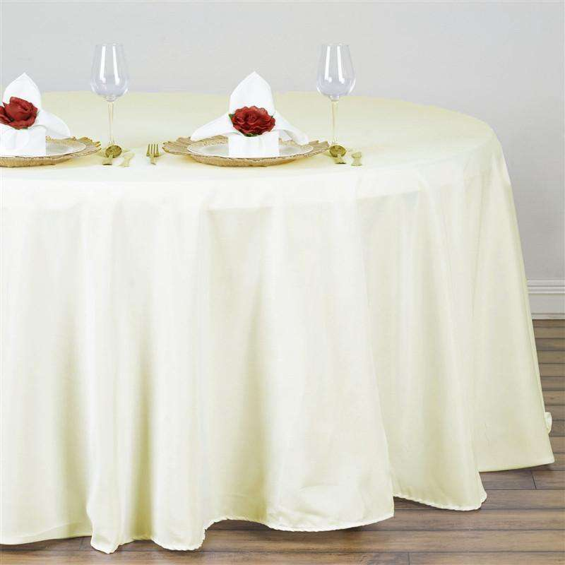 "132"" IVORY Wholesale Polyester Round Tablecloth For Wedding Banquet Restaurant"