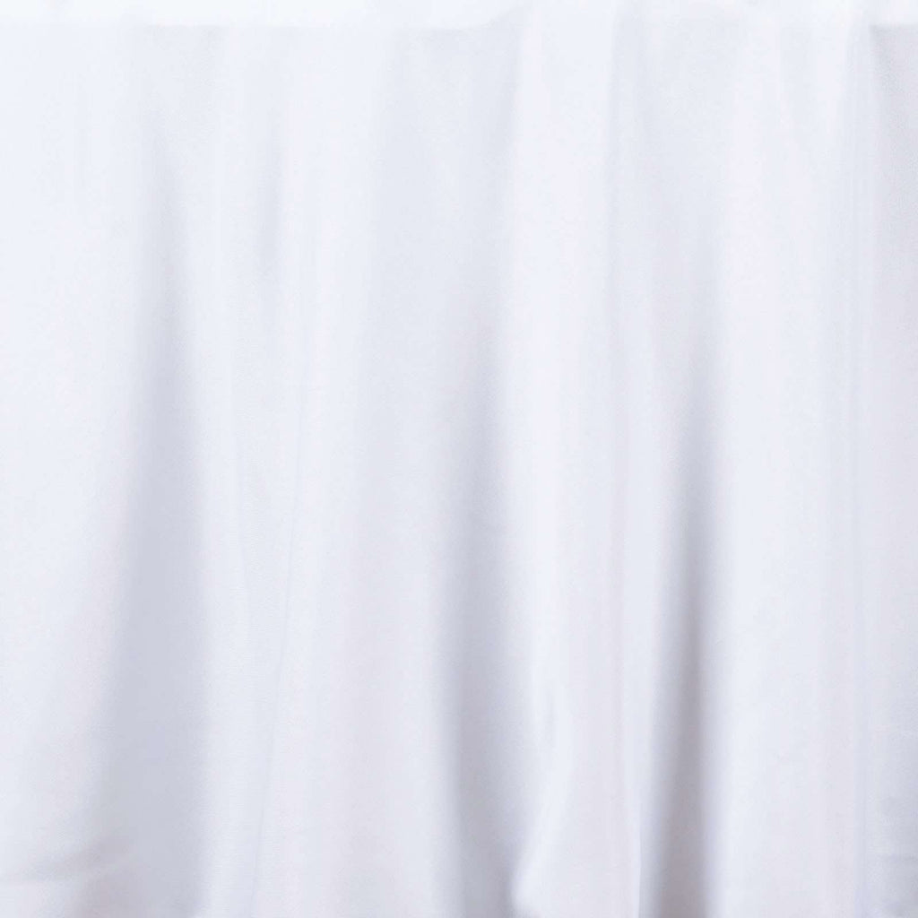 "132"" WHITE Wholesale Polyester Round Tablecloth For Wedding Banquet Restaurant"