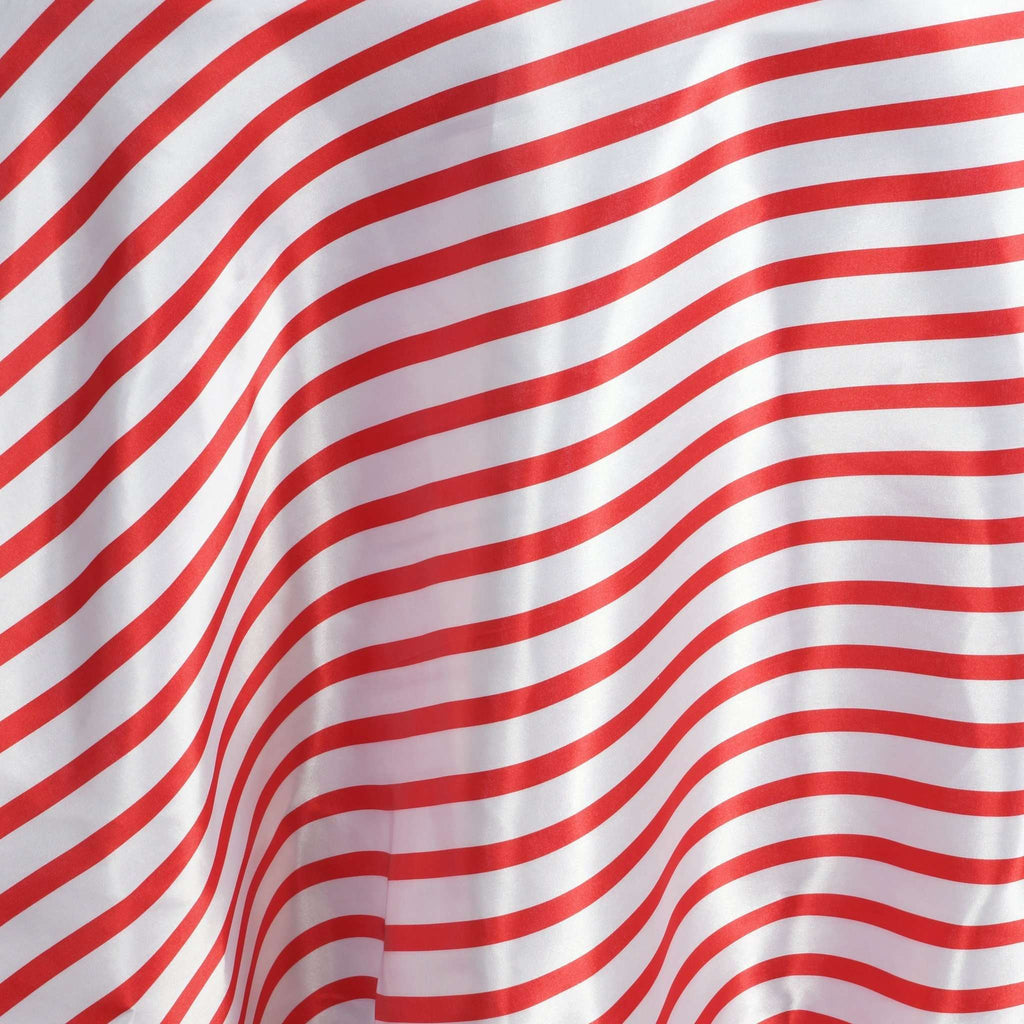 "120"" Stripe Satin Tablecloth - White/Red"