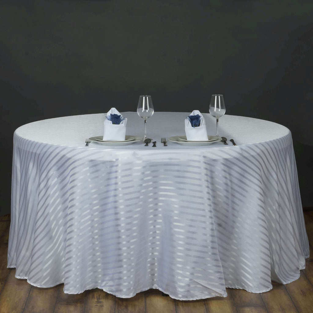 "120"" Stripe Wholesale SATIN Banquet Linen Wedding Party Restaurant Tablecloth - White/Silver"
