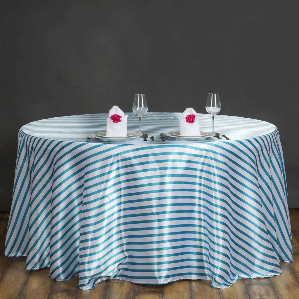 "120"" Stripe Wholesale SATIN Banquet Linen Wedding Party Restaurant Tablecloth - White/Turquoise"