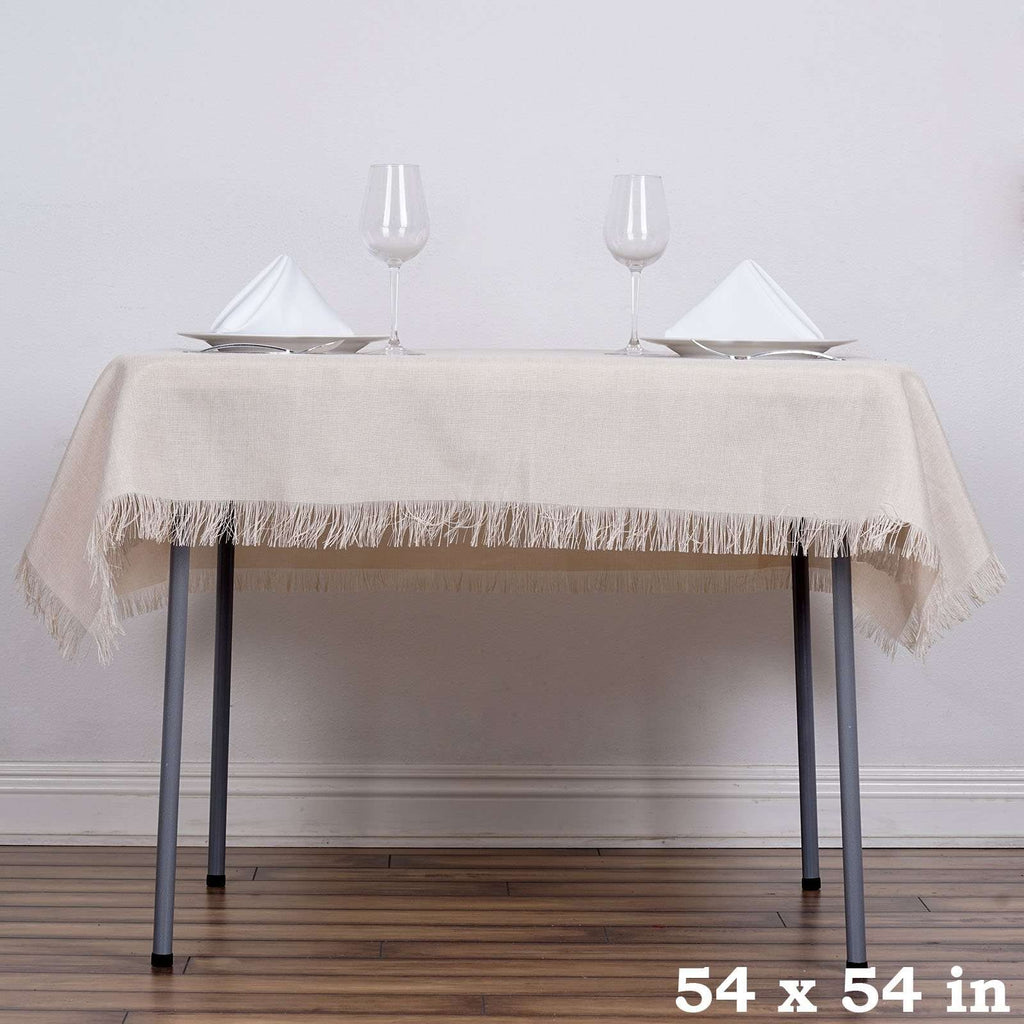 "54""x54"" Natural Fringed Faux Burlap Square Tablecloth Overlay For Wedding Event Decoration"