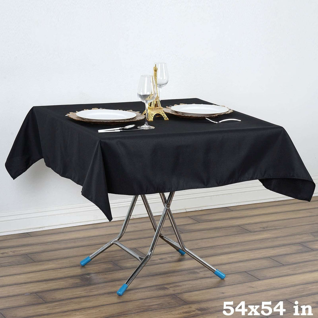 "Black 54"" x 54"" Wonderful Wrinkle and Stain Resistant Premium Polyester Table Cloths"
