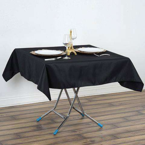 "54"" x 54"" Black Wrinkle and Stain Resistant Premium Polyester Tablecloths Overlay For Wedding Catering Party Decorations"