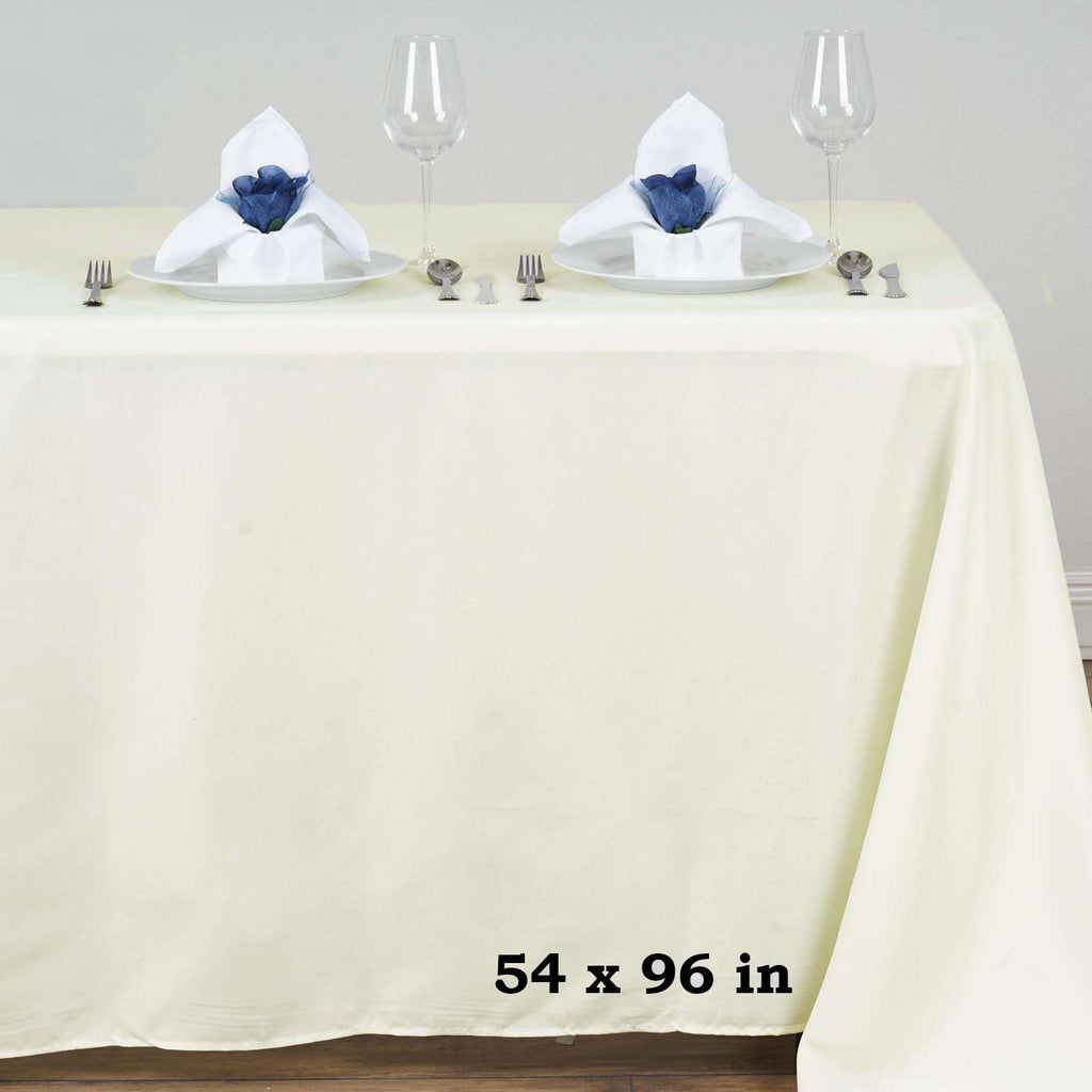 "54x96"" IVORY Wholesale Polyester Banquet Linen Wedding Party Restaurant Tablecloth"