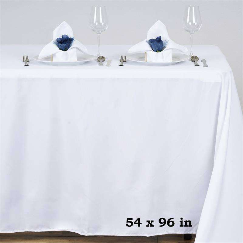 "54x96"" WHITE Wholesale Polyester Banquet Linen Wedding Party Restaurant Tablecloth"