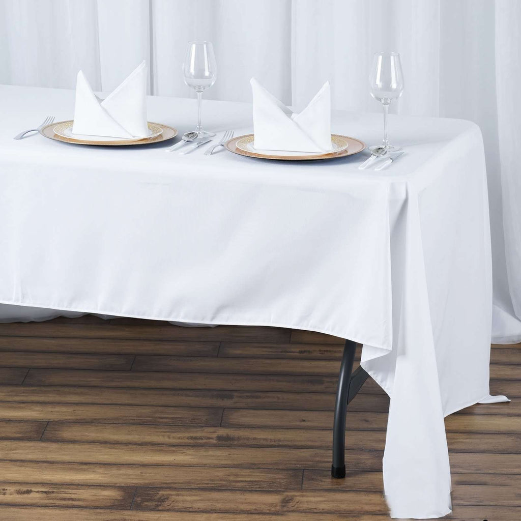 "60x126"" Seamless Premium White Wholesale Polyester Rectangular Oblong Banquet Linen Tablecloth"