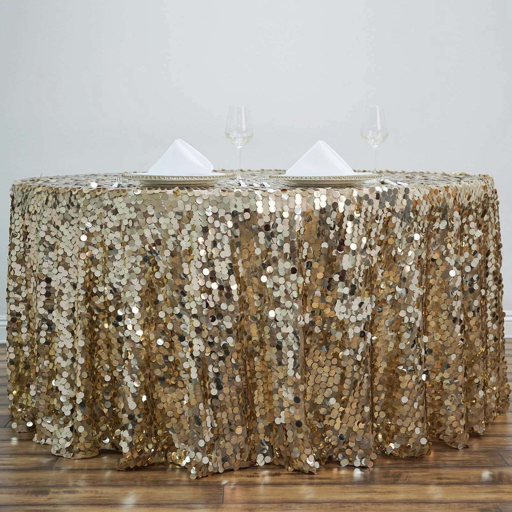 "120"" Big Payette Champagne Sequin Round Tablecloth Premium Collection"