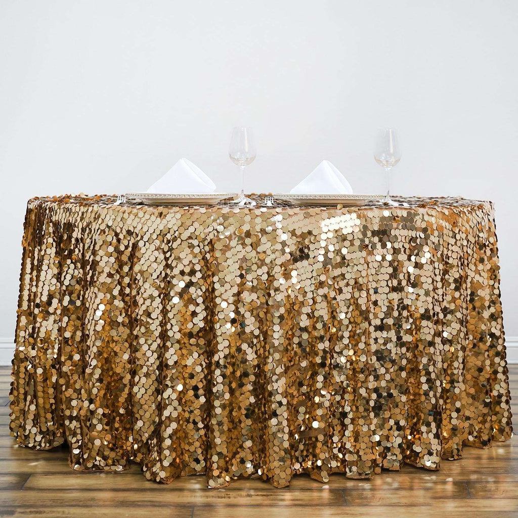 "120"" Big Payette Gold Sequin Round Tablecloth Premium Collection"