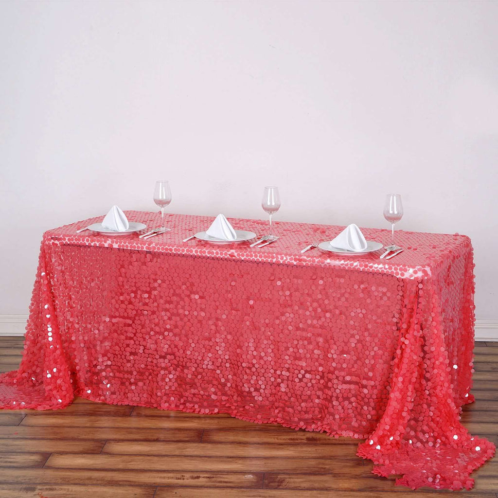 "90X132"" Premium Coral Big Payette Sequin Rectangle Tablecloth"