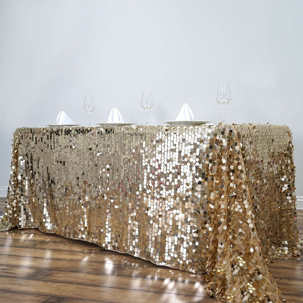 "90X132"" Wholesale Champagne Premium Big Payette Sequin Rectangle Tablecloth For Wedding Banquet Party"