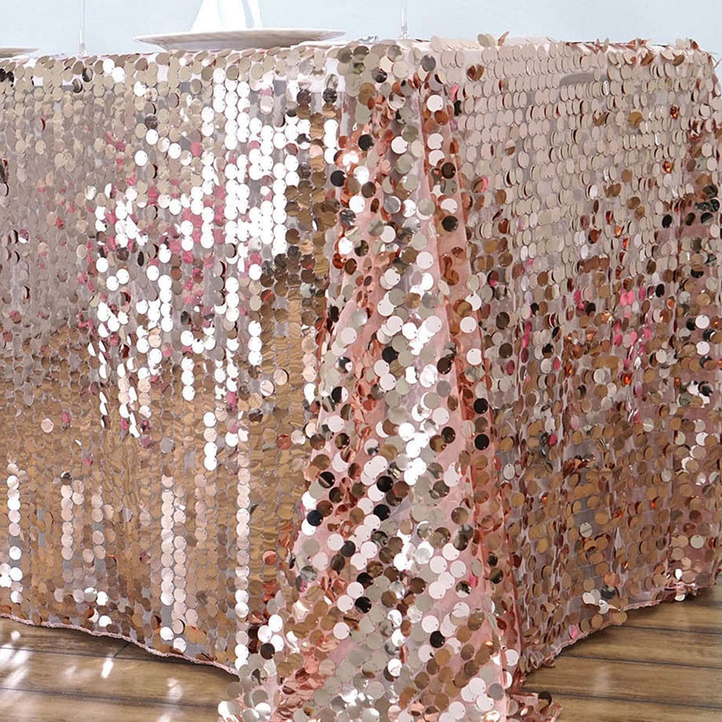 "90X156"" Premium Big Payette Sequin Rectangle Tablecloth - Rose Gold 
